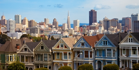 victorian architecture: The Painted Ladies at Alamo Square in San Francisco Editorial