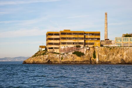 Closeup view of the wardens quarters on Alcatraz prison island, San Francisco Bay.