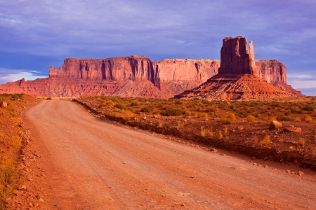 Road between the buttes of Monument Valley Navajo Tribal Park, Arizona.