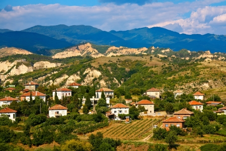 Village scene in the wine region of Melnik, Bulgaria.