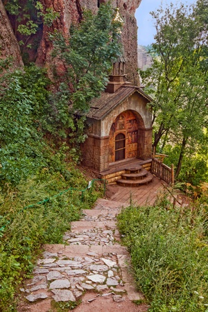 The small chapel at the Belogradchik Fortress, Bulgaria. Stock Photo