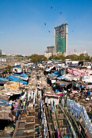 The worlds largest open laundry in Mumbai, India.