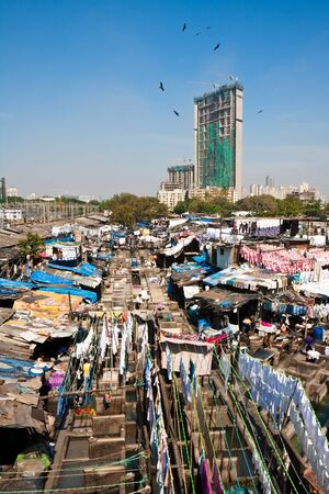 slum: The worlds largest open laundry in Mumbai, India.