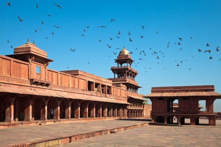 Panch Mahal and the Girls School in the courtyard of Fatehpur Sikri, India.