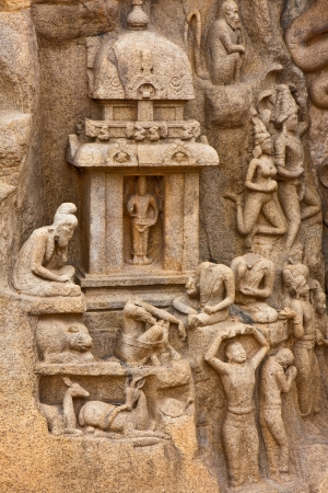 heritage site: Detail from the Arjunas Penance (or Descent of the Ganges) bas-relief in Mahabalipuram, India. Editorial
