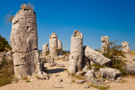 petrified fossil: Standing Stones natural phenomenon near Varna, Bulgaria. Stock Photo