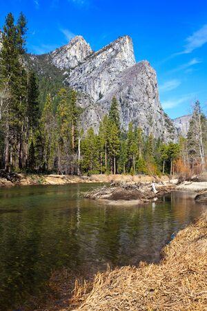 merced: Three Brothers peak in Yosemite National Park, California