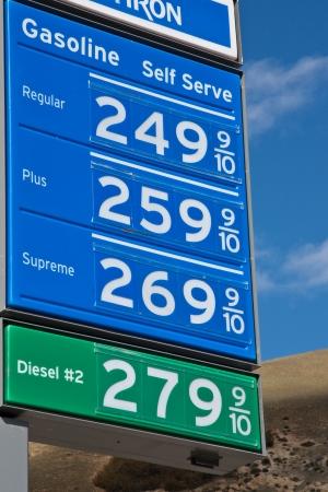 De gasprijzen boord tegen blauwe hemel in Californië.