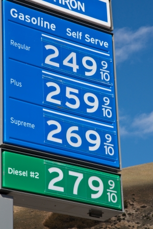 Gas prices board against blue sky in California. Redakční