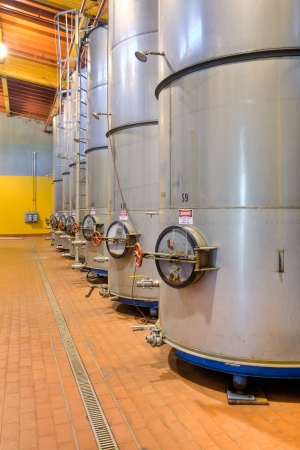 casks: Large metal wine casks at a California winery.