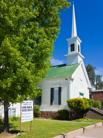 come in: Methodist Church with a Come Rock with Jesus sign in Sutter Creek, California. Stock Photo