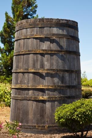 Big wooden barrel at a California winery.