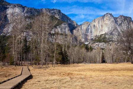 merced: Merced meadows and Yosemite Falls in Yosemite National Park, California.