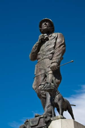 Statue of General Patton and dog at the General Patton Museum, California. Stock Photo - 14892621