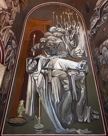 veliko: Mural in the church inside Tsarevets fortress in Veliko Turnovo, Bulgaria  Editorial