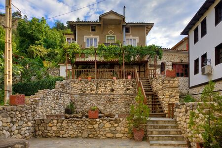 hdri: HDR image of a traditional house in historic Melnik, Bulgaria. Editorial