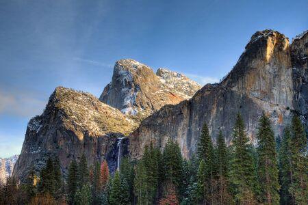 cascade range: Bridalveil Falls in winter at Yosemite National Park, California.