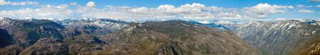 High res panorama of the Sierras taken from Smith Peak in Yosemite Naitonal Park, California. Stock Photo