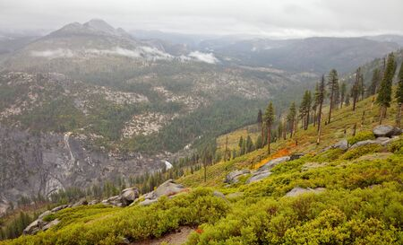high sierra: View form Washburn Point on a rainy day in Yosemite National Park, California.