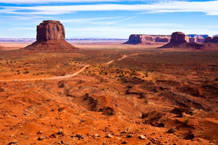 butte: View of Monument Valley with Merrick Butte  Stock Photo