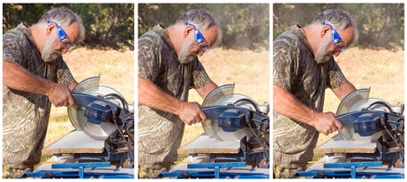 Sequence of a senior man cutting wood with a chop saw. photo