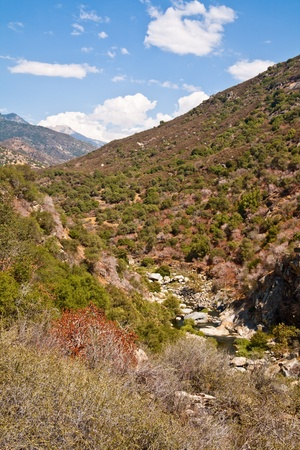 rill: River valley landscape at Sequoia National Park, California  Stock Photo