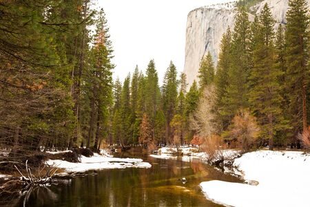 Merced River and El Capitan in Yosemite National Park, California  photo