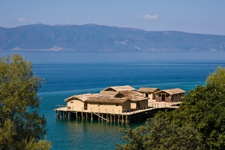 Ancient village reconstruction on lake Ohrid in Macedonia.