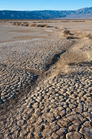 near death: Cracked Dry Lake Bed near Death Valley