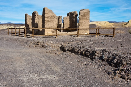 Old borax mine site ruins in Death Valley National Park, California