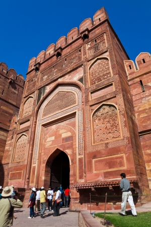 AGRA, UTTAR PRADESH, INDIA - MARCH 26: Crowd of tourists at Agra Fort in India - the old Mughal Empire capital