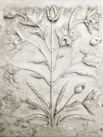 monument in india: Flower design on the walls of the Taj Mahal monument in Agra, India.