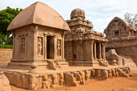 mahabalipuram: Three of the five rathas at Mahabalipuram, India.