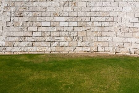 stone wall: Background of grass and wall.