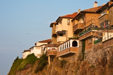 steep cliff: Houses on a steep cliff in Sozopol, Bulgaria. Stock Photo