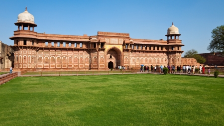agra: Panoramic view of Jahangiri Mahal at Agra Fort, India.