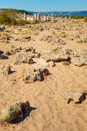 Desert landscape at the Standing Stones park near Varna, Bulgaria.