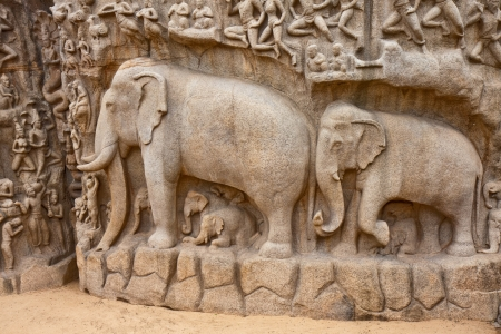 Portion of the Arjuna's Penance (or Descent of the Ganges) bas-relief in Mahabalipuram, India. Foto de archivo