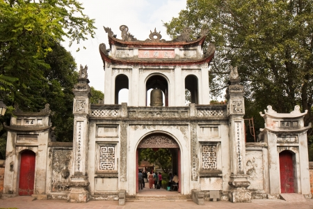 Gate to the Temple of Literature in Hanoi, Vietnam.