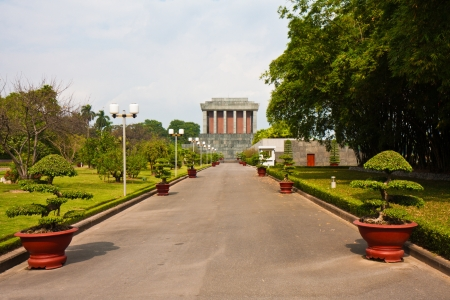 Side view of the Ho Chi Minh mausoleum in Hanoi, Vietnam.
