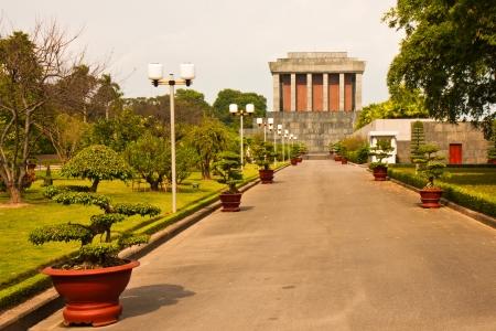 mausoleum: Side view of the Ho Chi Minh mausoleum in Hanoi, Vietnam.