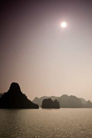 ha: Dreamy landscape in Ha Long Bay, Vietnam. Stock Photo
