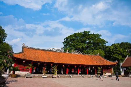 buddhist temple roof: The Temple of Literature in Hanoi, Vietnam.