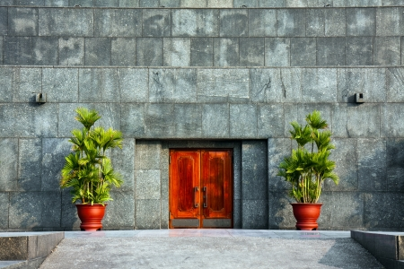 mausoleum: The backdoor to the Ho Chi Minh mausoleum in Hanoi, Vietnam.