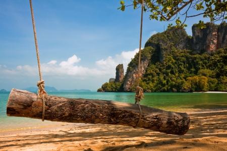 Log swing on a small island in Ao Phang Nga, Thailand.