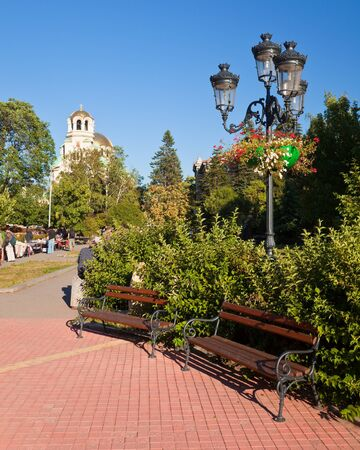 Benches at a park in Sofia, Bulgaria. Stock Photo - 15555239
