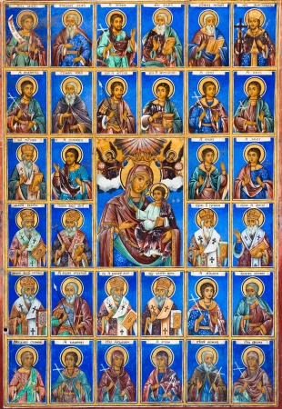Saints and martyrs on the wall of the Rila Monastery church, Bulgaria. Editorial