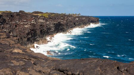 big island: Lava cliffs at the end of Chain of Craters Road in Volcanoes National Park, Hawaii.