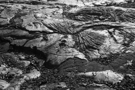 volcanic stones: Interesting lava patterns at Volcanoes National Park, Hawaii. Stock Photo