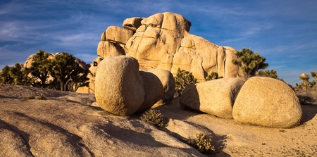 cloud formation: Interesting rock formation at sunset in Joshua Tree National Park, California.